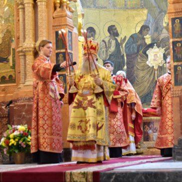 Митрополит Варсонофий возглавил Божественную литургию в соборе Воскресения Христова («Спас-на-Крови»)