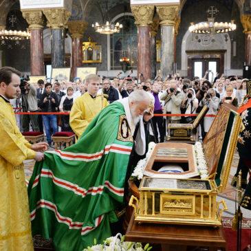 Патриарший визит в Санкт-Петербургскую митрополию. Литургия в Никольском Морском соборе в Кронштадте.