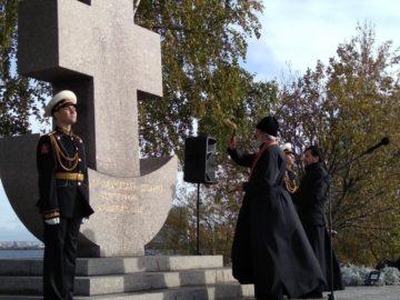 Освящение мемориала Первому морскому десанту